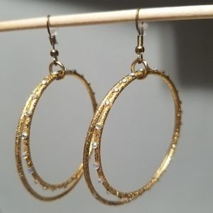 Double Hoop Gold Earings